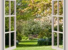 atviras langas sodas medziai ziedai